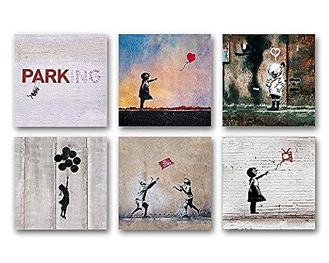 Banksy Bilder Set A, 6-teiliges Bilder-Set jedes Teil 19x19cm, Seidenmatte Optik auf Forex, moderne schwebende Optik, UV-stabil, wasserfest, Kunstdruck für Büro, Wohnzimmer, XXL Deko (Jedes Set)