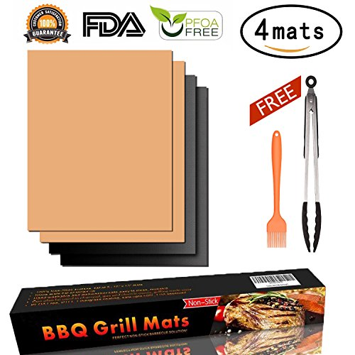 AUERVO Grill Mat Set of 4, BBQ Grill Mat Baking Mat Non Stick,FDA Approved,Reusable,Easy to Clean Barbecue Grilling Perfect for Gas, Charcoal,Electric Grills,Veggies,With Silicone Tongs Brush