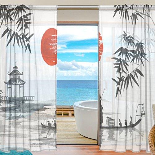 2PC jstel Japanische Malerei Mann mit Boot Muster Print Tüll Polyester Tür Voile Fenster Vorhang Sheer Vorhang Panels für Schlafzimmer Wohnzimmer Fall Zwei scheibenelementen Set 139,7x 198,1cm