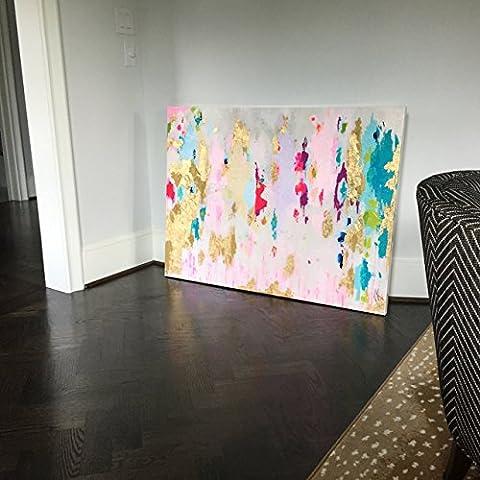 Haute qualité peint à la main d'origine abstraite moderne Art contemporain Peinture Rose Bleu Jaune Art mural décoratif Texture Grande illustrations, 28x36inch(70x90cm)