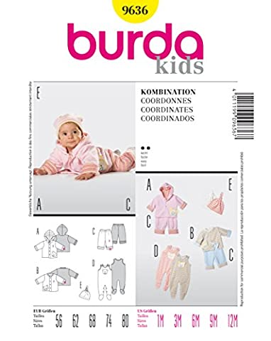 Burda 9636 Schnittmuster Jacke Hose Strampler (Baby, Gr. 56 - 80) Level 2 leicht