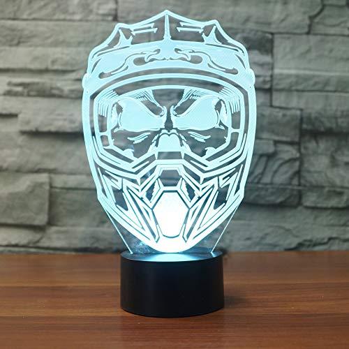 YDBDB Nachtlicht 3d led usb 7 bunte visuelle motorrad helm maske schreibtischlampe beleuchtung wohnkultur schlaf leuchten geschenke - Fußball Helme Motorrad