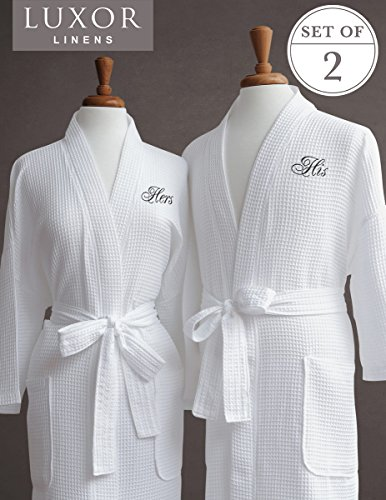 Luxor Linens Luxus Bademantel–Ägyptische Ägyptische Baumwolle HIS & HERS Waffel Bademäntel, perfektes Bademantel Hochzeit Geschenk