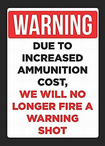 Fluse Due to Increased Ammunition Cost We Will No Longer Be Firing Vintage Metal Art Chic Retro Blechschild 8 x 12 Zoll Metallschilder -