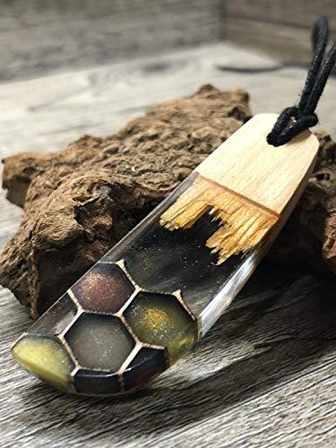 Holzschmuck, Modeschmuck, Herren Holz Epoxid Halskette, Holz Schmuck mit Resin, Bohemian Schmuck, Geschenk, Good Omens Jewelry