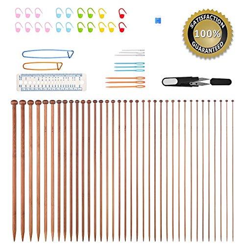 Agujas de tejer, Bcmrun 36 unidades de agujas de tejer de bambú, 18 tamaños de 2,0mm a 10,0mm con 34 accesorios, 35CM(13.78 inch)