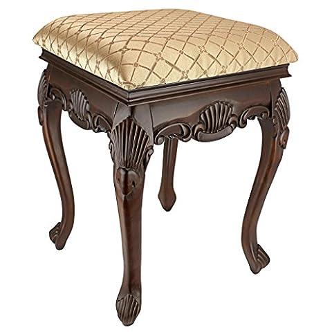 Design Toscano KS51101 Tabouret de boudoir Madame Bouvier Noyer Brun 38 x 38 x 54,5 cm
