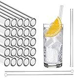 STRAWGRACE Glas-Strohhalme, handgefertigt, gerade - unabhängig in DE geprüft - 25 Stück 20 cm, 2 Bürsten - Glas-Trinkhalme aus hochstabilem Laborglas, ideal für Cocktail, Smoothie etc, Glasstrohhalme