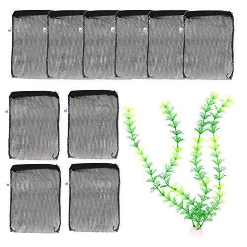 Carbon Filter Media (TIMGOU 10 Aquarium Filter Staubbeutel mit Einem 30 cm Künstliche Ornament Pflanzen, Fische Tank Media Mesh Tasche für pelletisierte Carbon, Bio Bälle, Keramik Ringe, Ammoniak Entferner)