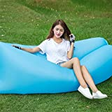 OOFAY Wasserdichtes Haltbares Zusammenklappbares Aufblasbares Luftsofa Für Indoor Outdoor Hangout Air Chair Couch Hängematte Faul Tasche,Blue