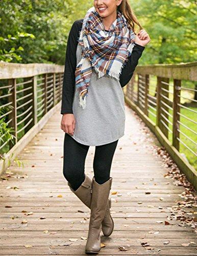 Sitengle Donna T-shirt Girocollo Bluse e Camicie Contrasto di Colore Allentato Bluse a Maniche Lunghe Camicetta Casuale Shirt Camicia Tops grigio 2
