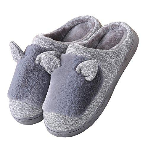 oreilles de chat coton tricoté pantoufles à domicile-Unisexe hiver chaud peluche chaussures bootie Gris