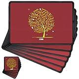 Indigifts Diwali Gift Items Family Love Tree Brown Table Mat And Coaster Set Of 6 - Diwali Gift Items, Diwali Decoration Items, Deepavali Decoration, Dipawli Gifts, Deepawali Greetings