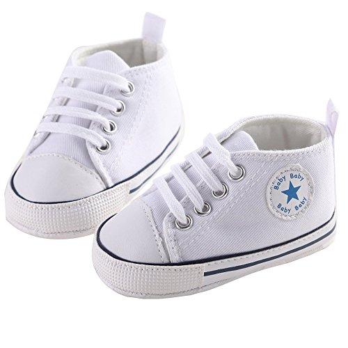 WAYLONGPLUS , Chaussures premiers pas pour bébé (fille) rose rose 12(6-12 Months) blanc