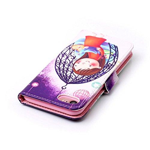 iPhone 7 Hülle,SainCat iPhone 7 Ledertasche Handyhülle Brieftasche im BookStyle Erleichterung Pfaublume Muster PU Leder Hülle Wallet Case Folio Schutzhülle Lederhülle Ledercase Scratch Bumper Handytas Cradle Mädchen