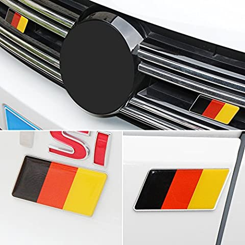 Germany Flag Emblem Badge Fit Germany Car Front +Rear 2 PCS