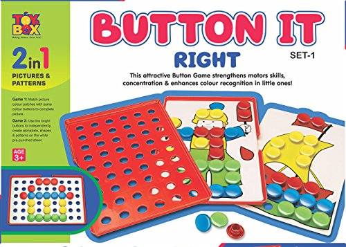 Toyztrend Preschool Educational Button It Right Junior Pictures & Patterns 2 in 1 Game for Kids Ages 3+ Multicolour