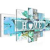 Bild 200 x 100 cm - Home Bilder- Vlies Leinwand - Deko für Wohnzimmer -Wandbild - XXL 5 Teilig Teile - leichtes Aufhängen- 802851c