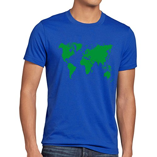 style3 Sheldon World Map Herren T-Shirt Weltkarte, Größe:L;Farbe:Blau