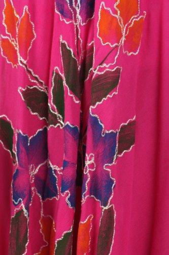 Sakkas Robe Coton Floral Brodé Peint Mancheron Fuchsia