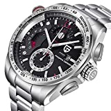 Pagani Design Herren Uhr Marke Chronograph Japanisches Quarzwerk Sport Wasserdicht Armbanduhr mit Schwarz Zifferblatt Edelstahl Armband