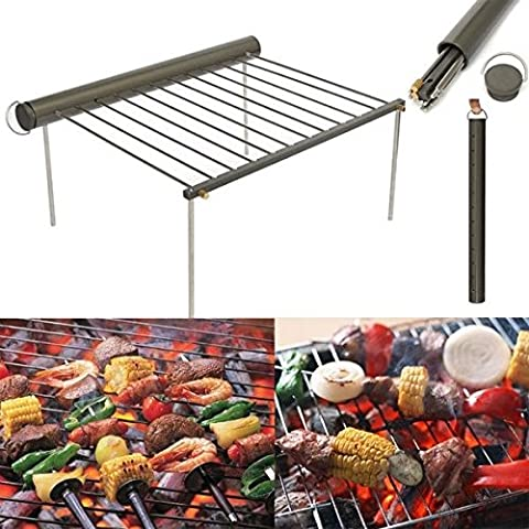 léger BBQ Barbecue grill support pour le camping en acier inoxydable Hnaa