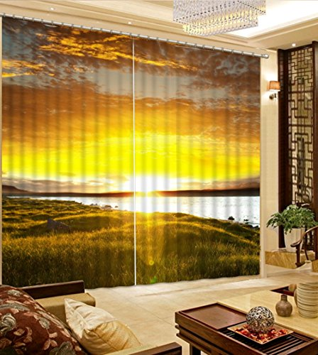 erdunkelungsvorhänge Schöne Sonne Meer Landschaft Vorhänge Für Wohnzimmer Küche Vorhangstoffe 240cmX300cm 2 Pieces (Küche Vorhänge Meer)