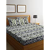 MAFATLAL 180 TC 100% Fine Cotton Double Bedsheet With 2 Pillow Covers Double Queen, Printed Black Colour. Quality Cotton Latest Double Bed Sheets