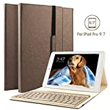 boriyuan IPad Pro 9.7 Bluetooth Tastatur Hülle, Stand Folio PU Hülle mit 7 Farben hinterleuchtet Abnehmbare Wireless Bluetooth Tastatur für Apple iPad Pro 9,7 Zoll - (Braun)