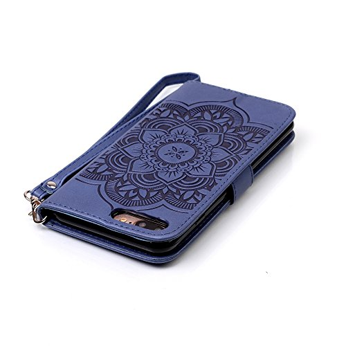 iPhone 7 Plus Hülle, iPhone 7 Plus Neo Hülle Case, iPhone 7 Plus Leder Brieftasche Hülle Case,Cozy Hut iPhone 7 Plus Leder Hülle iPhone 7 Plus Ledertasche Brieftasche Schutz Handytasche mit Standfunkt bleu marine Campanula