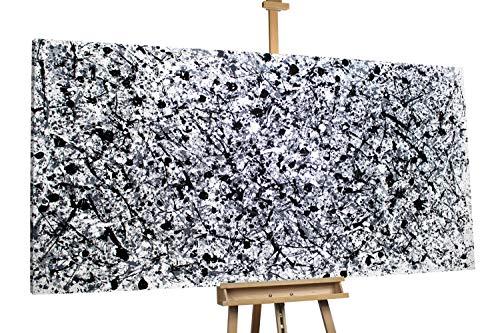 'Rauer Regen' 200x100cm | Abstraktes Bild Schwarz und Weiß XXL | Modernes Kunst Ölbild
