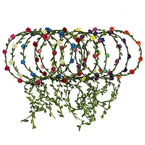 10Pcs Couronne de Fleur, CODIRATO Floral Bandeau de Couronne Multicolore Style Bohême Bandeaux de Guirlande pour Fête Mariage Vacances Accessoires de Cheveux pour Femme Fille