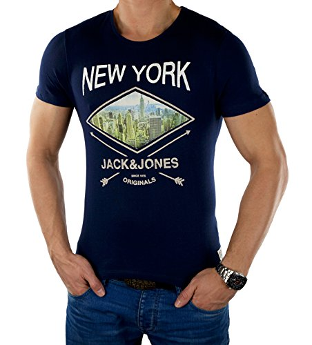 JACK & JONES Herren T-Shirt Jjordrool Tee Ss Crew Neck DROOL Blau (Peacoat)