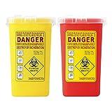 Baoblaze Paquet De 2 Aiguilles De Disposition Des Déchets Dangereux Biohazard De 1 Pcs 1 Boîte De Collecte Rouge Et Jaune