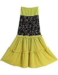 DollsofIndia Yellow With Black Skirt With Elastic Waist - Length - 37 Inches - Yellow