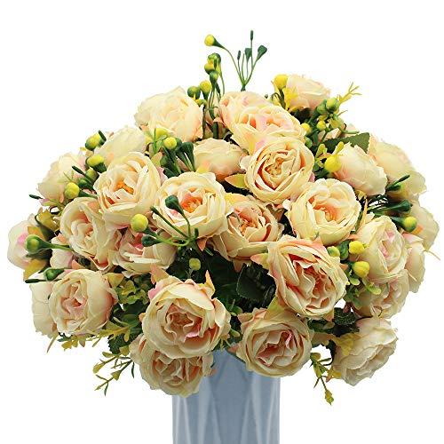 Mzming - confezione da 4 peonie artificiali, bouquet da sposa, fiori in seta vintage con boccioli e foglie, per casa, cucina, ufficio, giardino, festa di nozze champagne