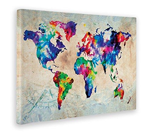 Giallobus - Quadro - Stampa su Tela Canvas - World Map Color - Mappa A Colori - 50 x 70 CM