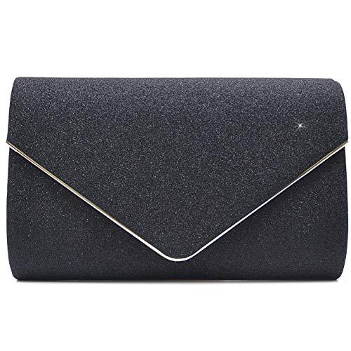 Vain Secrets Damen Umhänge Tasche Clutch Abendtaschen in vielen Farben (22 cm Lang - 13 cm Hoch - 6 cm Breit, Schwarz Strass) -