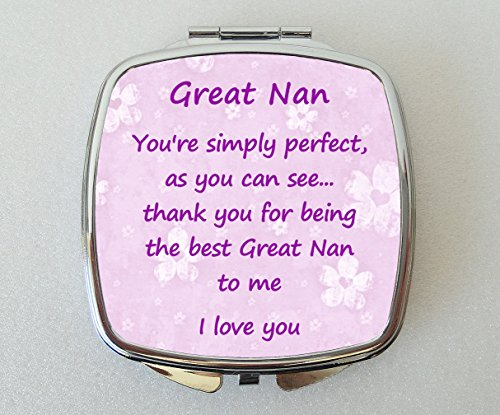 GREAT NAN Miroir Compact avec un adorable vers «Thank you»