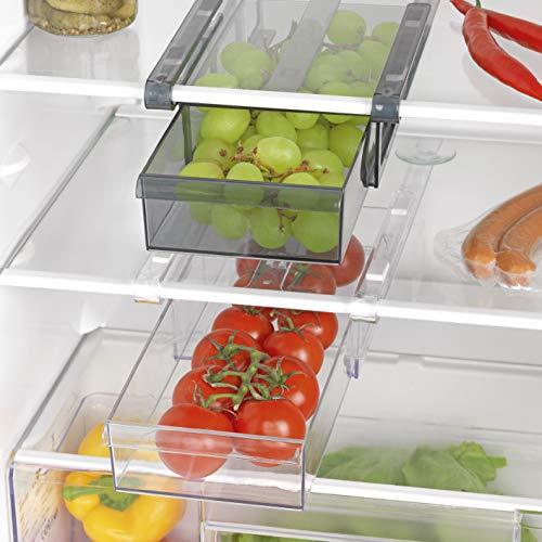 GOURMETmaxx Klemm XXL für Kühlschrank 2er-Set Aufbewahrungsbox Kühlschrankbox Schublade Aufbewahrungskiste Gemüsefach Kühlfach Gemüseschale Fach Zusatzfach schwarz/weiß, Plastik
