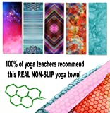 Yoga Towel, Skidless Non-slip surface, Exclusive Pockets cover each corner of the mat