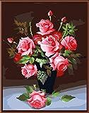 Aolala Frameless Acrylbild nach Zahlen Abstraktes Zeichnen nach Zahlen Einzigartiger Geschenk-Farbton nach Zahlen Rose Vase,60X75cm
