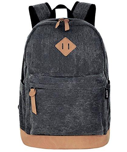 SAMGOO Unisex Leinwand Einfache Rucksäcke Daypack mit Laptopfach Freizeitrucksack Schulrucksack (Schwarz Gewaschen)