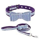 Royalr Klassische Streifen-Grids Hund Fliege Halsband Schnalle Verstellbare PU Tierbedarf Katzen-Kätzchen-Welpen-Kragen-Seil