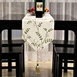 JINGJIE Tischläufer Tisch-läufer modernes chinesisch simple gestickt dining table schuhkarton coffee table tv-schrank bett-flagge edding bankett dekoration-A 30x200cm(12x79inch)