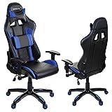 Giosedio GSA Schwarz/Blau Ergonomisch Verstellbarer Gaming PC Stuhl Schreibtischstuhl Chefsessel mit Armlehnen Racing Bürostuhl Komfortabler Bürostuhl in sportlicher Racer Optik