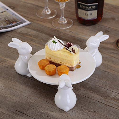 XOSHX Platte Weißes Porzellan Kuchen Platte Keramik Kreative Einrichtungsgegenstände Ornamente Zubehör Tee Gebäck Tablett (Kunststoff-platten Mit Trim Gold)