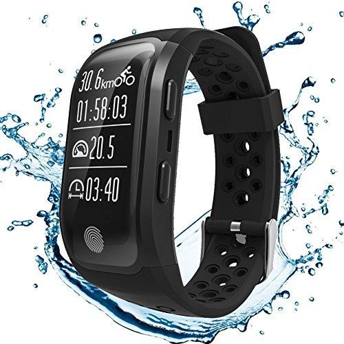 S908GPS Smart Bands mit Herzfrequenz Sleep Monitor Sitzende Reminder Schrittzähler IP68Wasserdicht Fitness Tracker-Smart Armbänder für iPhone Android, Schwarz -