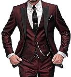 O.D.W Herren Übergrößen Anzug Glanzanzug Sakko mit Hose Weste Sakko Männeranzug Hochzeit 3-Teilig (Burgund,48)