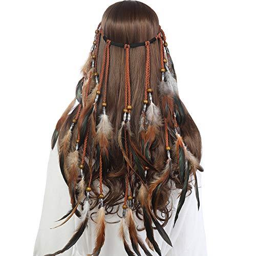 AWAYTR Feder Kopfschmuck Boho Hippie Stirnband - Fancy Federschmuck Böhmische Kopfbedeckung Quaste für Damen Mädchen Karneval Kopfschmuck, Khaki, Einheitsgröße